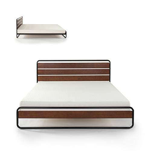 Zinus Therese Metal and Wood Platform Bed with Wood Slat Support, Queen