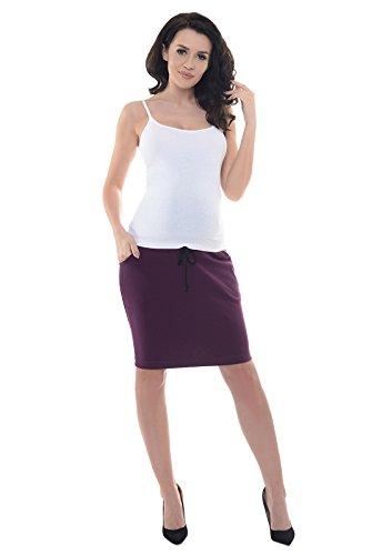 Purpless Umstandsrock Umstandsmode Shwangere Damen Rock Röcke mit Bauchband 1500 (38, Plum)