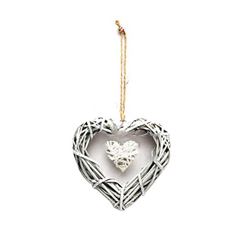 Homeofying Double Heart Wedding Resin Wicker Wall Hanging Decoration Ornament Party Gift 1