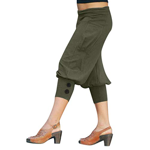 WOZOW Yoga Freizeithose Stoffhose Damen Capri Solid Einfarbig Haremshose Pumphose Lose Casual Bloomers Low Waist Side Taschen Pockets Soft Bequem Saggy Crop Trousers (XL,Armeegrün)