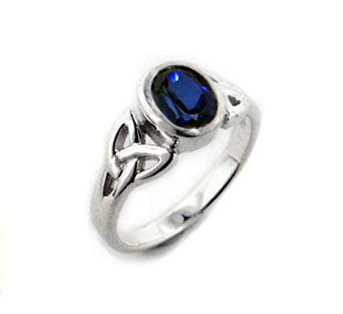 Sterling Silver Celtic Knot and Created Blue Sapphire Ring Size 9(Sizes 4,5,6,7,8,9,10,11,12,13,14,15)