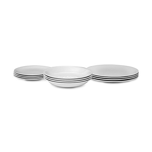 """Alessi """"All-Time"""" Table Set Composed of Four Dining Plates, Soup Bowls, Side Plates in Bone China, White - AGV29S12"""