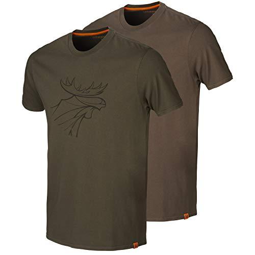Harkila Graphic T-shirt set van 2 - shirt voor jagers in twee verschillende kleuren met elandopdruk - jachtshirt voor heren in verpakking van 2 in bruin groen en oranje