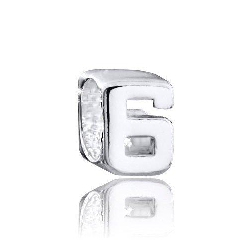 Materia 925 plata granos colgante número 6 - colgante de plata para pulseras/cadenas #1498