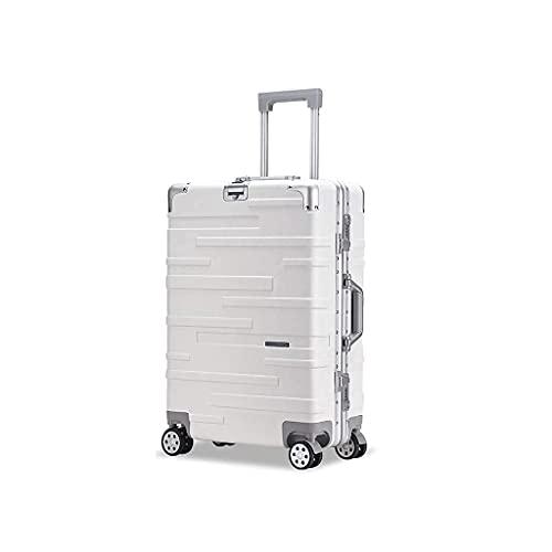 QIXIAOCYB Maleta portátil/maleta de equipaje con gran capacidad, juegos de maletas, equipaje de mano, de 20 pulgadas, código de mercancía: LWH-48 (color: amarillo) (color: blanco)