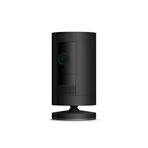 Ring Stick Up Cam Battery, cámara de seguridad HD con comunicación bidireccional, compatible con Alexa | Incluye una prueba de 30 días gratis del plan Ring Protect | Color negro