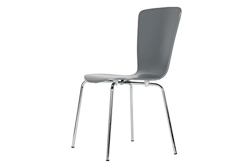 Novogratz Bentwood Dining Chair with Chrome Plated Legs, Set of 2, Grey