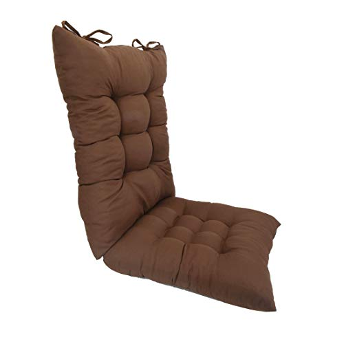 ELFJOY Solid Color Cozy Sanding Fabric Rocker Cushion Set - Chair Pads Set (Brown)