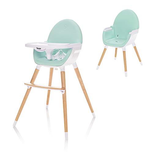 ZOPA Holzhochstuhl DOLCE - ab dem 6. Monat und bis 15 kg, In drei Positionen einstellbares Esstischchen, Kinderhochstuhl Treppenhochstuhl (Ice Green)