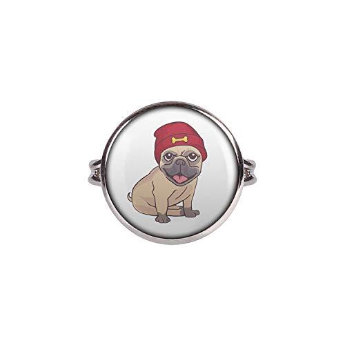 Mylery Anillo con Motivo Perro del Barro Amasado Casquillo Rojo del Barro Amasado Plata Diferentes tamaños