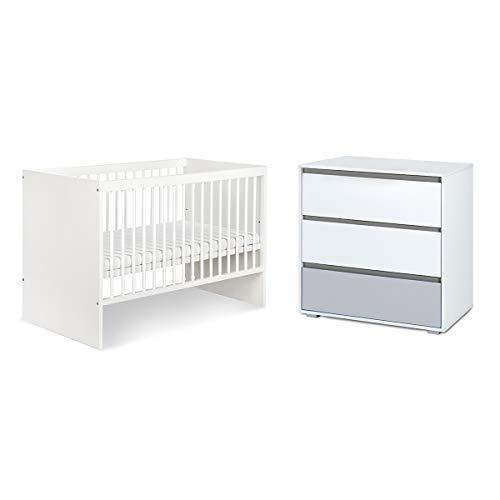 Lit bébé 60x120 et commode à langer LittleSky by Klups Dalia - Blanc