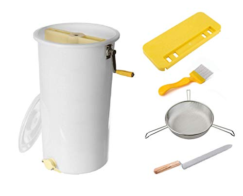 REGIVA Honey Extractor Manual 2 Frames Plastic - 5 pcs Beekeeping Supplies - Bee Honey Harvesting tools - Beekeeping starter kit - Beekeeper tools - Honey Strainer, Combcapper, Uncapping knife, Fork -