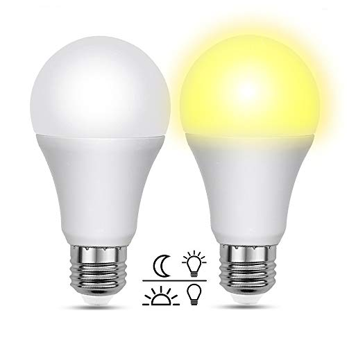 Lampadina con Sensore Crepuscolare 12W E27 LED Luce Fredda 6000K, 1000LM, Luce Crepuscolare da Esterno 220V Equivalent 100W, Lampada E27 Crepuscolare per Plafoniera da Esterno/Portico, set di 2