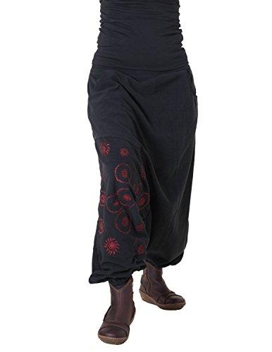 Vishes - Alternative Bekleidung - warme Thermo Haremshose aus Fleece - Bestickt schwarz dunkelrot 34 bis 38
