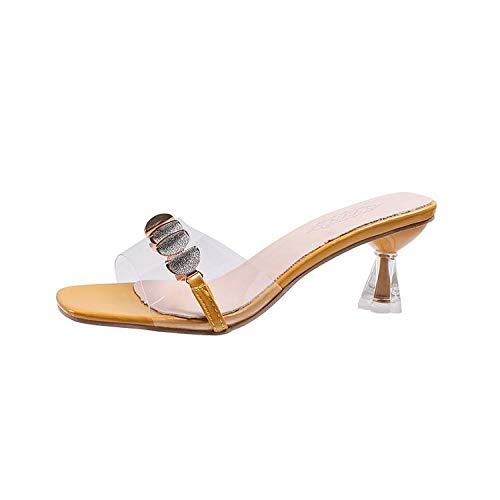 TAYIBO Zapatos de Interior Al Aire Libre Zapatilla,Use Zapatillas Transparentes, Zapatos de Cuero Transparentes de Verano, Chanclas-Amarillo_36