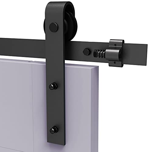 TSMST 8FT/243 cm - Riel para puerta corredera Industrial Quincailleri - Kit de riel para puerta corredera, conjunto industrial para puerta colgante de madera, forma 5