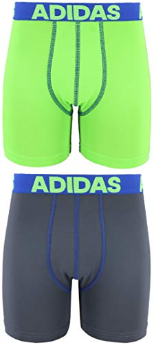 adidas Youth Kids-Boys Sport Performance Climalite Boxer Brief Underwear (2-Pack), Solar Green/Blue Onix/Blue, LARGE