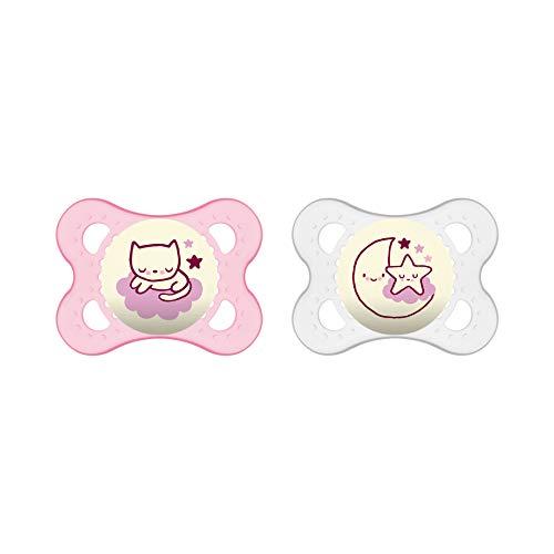 MAM Night Schnuller im Doppelpack, leuchtender Baby Schnuller, besonders weicher Baby Schnuller für schnelle Akzeptanz mit Sterilisier-Transportbox, ab der Geburt, rosa