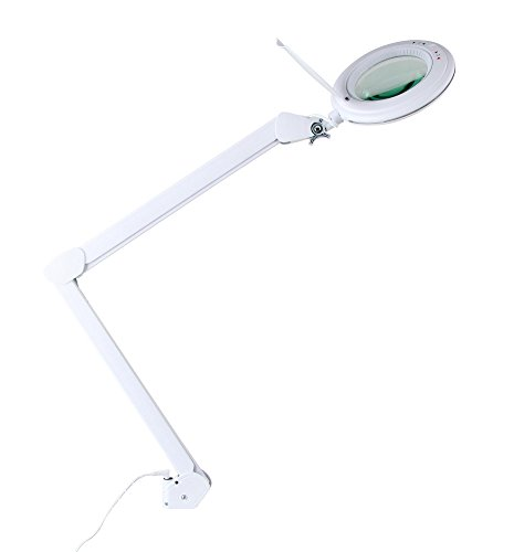 Showlite LL-6095D-Pro LED Lupenleuchte 9W 3/5 Dioptrien (Lupenlampe, dimmbar, 127 mm Linse, 60 SMD LEDs, 1,75/2,25-fache Vergrößerung, Tischklemme) weiß