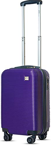 ATX Luggage Cabin Approved Super Lightweight Durable Carry-ons Hand Luggage Trolley 8 Wheeled Luggage Bag for EasyJet, Jet2, BA and Many More Airlines (Purple)