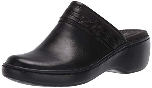 Clarks Women's Delana Hayden Clog, Black Leather, 9 M US