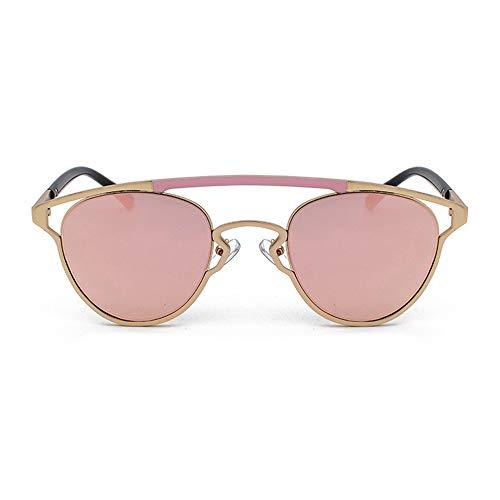 Yangmanini Gafas De Sol con Personalidad De Color Retro Oval Huecas Gafas Unisex UV400 Protección Marco Dorado (Color : Pink)