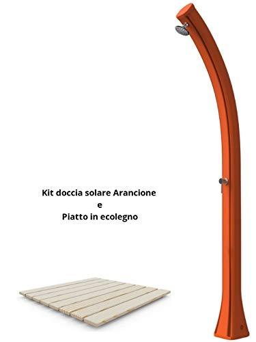arkema Kit con ducha solar y plato de ducha color naranja ducha solar fabricados en polietileno HD con depósito 25 litros altura 215 cm con mezclador plato ducha de madera ecowood