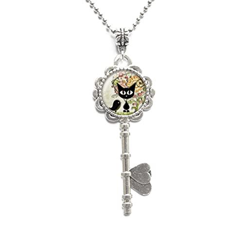 'Collar de llave de gato, gato con joyería de pájaros, colgante de gato, colgante de gato colgante colgante negro gato Charm-#135'