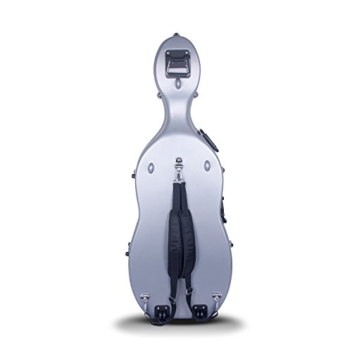 Crossrock 4/4 and 3/4 Size ABS Molded Cello Case with Wheels in Silver(CRA862CEFSL)