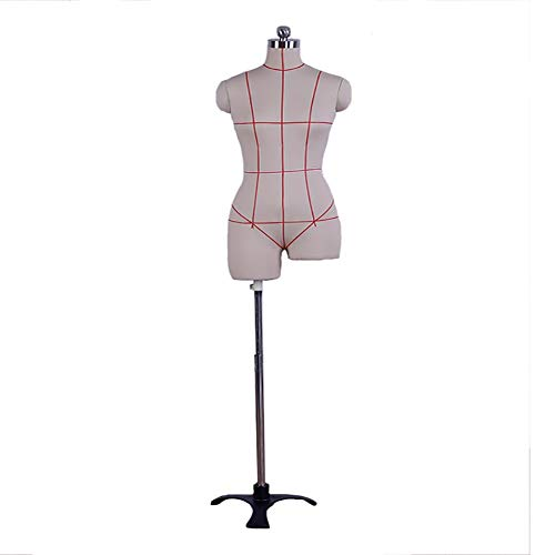 "Pinnable Female Upper Torso Mannequin with Tripod Stand, Plus Size Sewing Manikin Dress Form for Clothing Display Teaching, 60""-67""Height (Color : Beige, Size : M)"