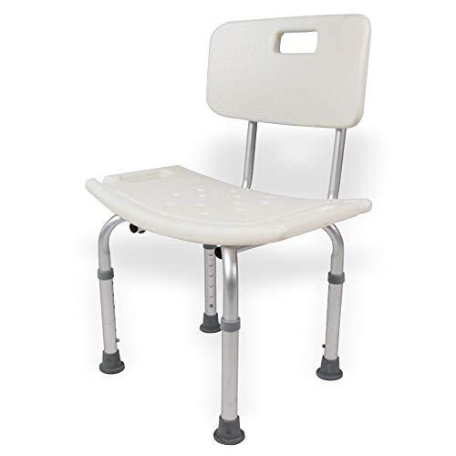 Festnight Douche- en badstoelen, in hoogte verstelbaar, medische douchebak, kruk met rug, lichtgewicht badkuip, douchezitje, badkamer, veiligheid, anti-slip douchestoel