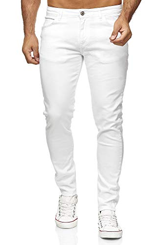 Vaqueros Hombres Pantalones Denim Colored Slim Fit Blanco W38 L34