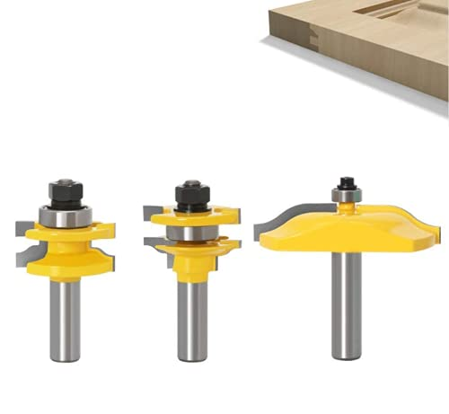APLUS 3Pcs Ogee Rail & Ogee Raised Panel Router Bit Set [ 1/2-Inch Shank ], Wood Milling Cutter Woodworking Tool