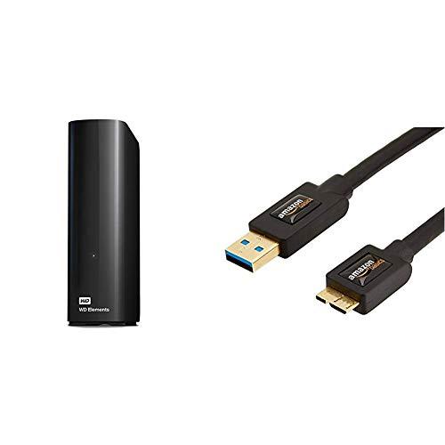 Western Digital 4TB Elements Desktop Externe Festplatte USB3.0 -WDBWLG0040HBK-EESN & Amazon Basics USB 3.0-Kabel (A-Stecker auf Micro-B-Stecker) 1,8 m (Abwärtskompatibilität zu USB 2.0 und 1.1)