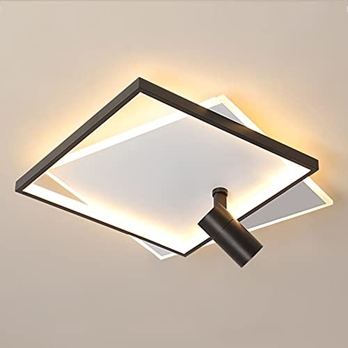 Luces de techo LED de atenuación continua con focos, lámparas de techo LED de iluminación interior acrílicas cuadradas modernas para la sala de estar del dormitorio,Negro,40+5W