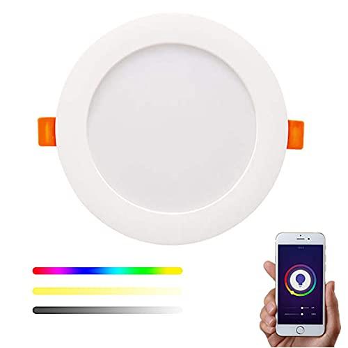 Downlight WiFi Inteligente LED RGBW 20W Empotrable Techo compatible con Alexa y Google Home, Multicolor Regulable 1650lm compatible con Tuya y Smart Life– Smartfy