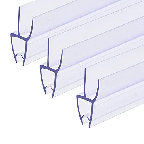 3x100cm Duschtür Dichtung,Ersatzdichtung für 4mm 5mm 6mm Glasdicke Wasserabweiser Duschdichtung Schwallschutz Duschkabine, Transparent mit optimal angeordneten Gummilippen