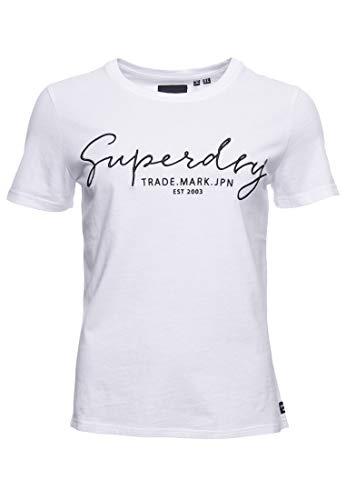 Superdry Damen Alice Script EMB Entry Tee T-Shirt, Weiß (Optic 01C), S (Herstellergröße:10)