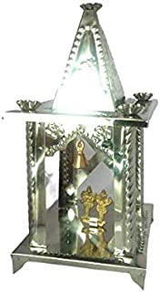 KISI Stainless Steel Diwali Pooja Hatri with Brass Lord Ganesh and Luxmi MATA Statue (Silver, 400g)