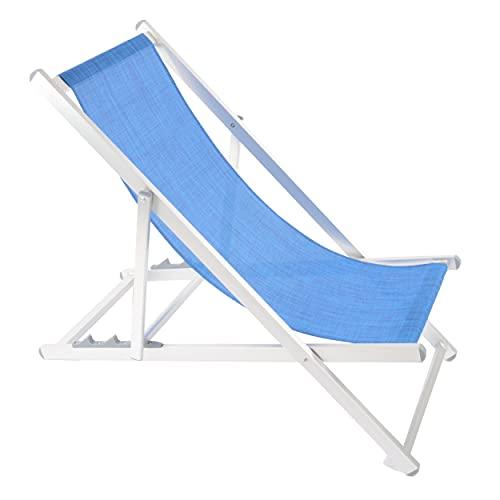 Shopyx sdraio da spiaggia reclinabile 3 posizioni 107x52 h 85 da piscina, campeggio, giardino in alluminio leggero e textilene. (Blu)