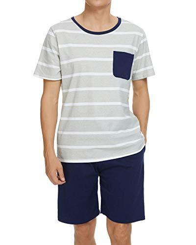 GOSO Pijama para Hombre Conjunto de algodón Ropa de Dormir Manga Corta Top con Pantalones Corta Suave Cómodo Ropa de Dormir