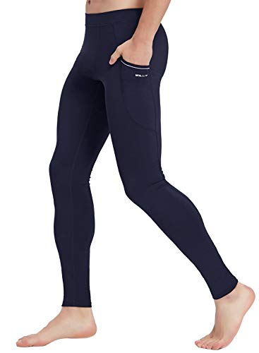 Willit Men's Active Yoga Leggings Pants Dance Running Tights with Pockets Cycling Workout Pants Quick Dry Navy Blue M