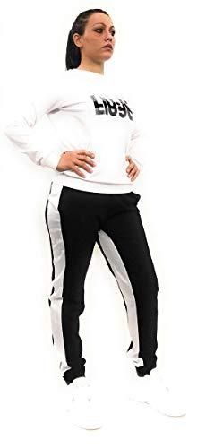 Liu Jo Liu-Jo - Pantalón de sudadera con banda lateral, cintura elástica y tobillo. Color blanco. L