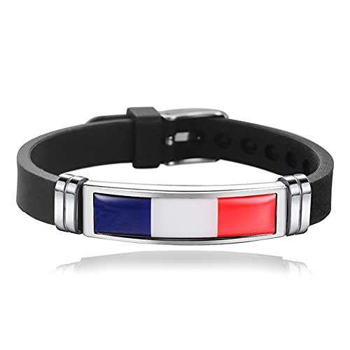 Unifree Pulsera de Silicona con Bandera Nacional [Francia] Pulsera de Acero Inoxidable, tamaño Ajustable, Pulsera para fanáticos del fútbol