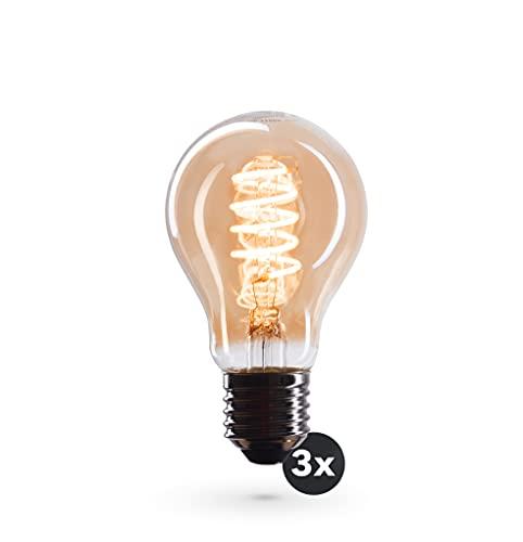 CROWN LED 3 x Edison Glühbirne E27 Fassung, Dimmbar, 4W, 2200K, Warmweiß, 230V, VS03, mit Vintage Spiral Filament, Beleuchtung im Retro Look