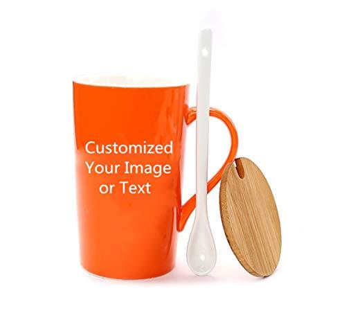 Taza de café personalizada con tapa y cuchara - Agregue imágenes, logotipo o texto a la...