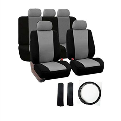 EET Car Seat Covers Universal 12 Pieces Set with Steering Wheel Covers And Shoulder Protection Suitable for Front Seats And Rear Seats for 95% of Cars Four Seasons And Compatible,Gray