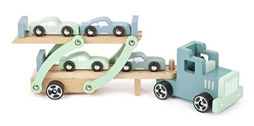 Small Foot 11510 Autotransporter Chicago aus Holz,mit beweglicher Laderampe,abnehmbarem Anhänger und 4 Autos,ab 3 Jahren