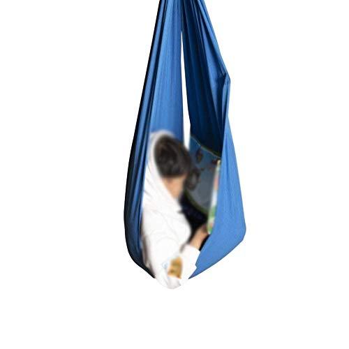 Columpio de terapia para interiores para niños con necesidades especiales, duradero, calmante y acurrucado, silla de hamaca autista para niños, peso máximo 440 libras| 200 kg, azul, 100x280cm/39x110in