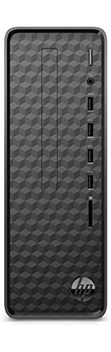 HP - PC 46L42EA, Slim Desktop S01-pF1010nl Desktop Tower, Intel Pentium Gold G6405, RAM 8 GB, SSD 256 GB, Windows 10 Home, Lettore Micro SD, USB-C, HDMI, Tastiera e Mouse USB Inclusi, Nero